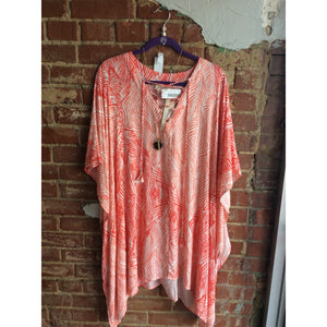 Coral Leaf Print Tunic Cover Up