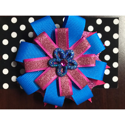 Medium Bow - Blue Sparkle Flower