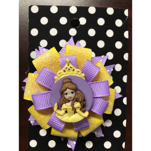 Large Bow - Purple & Yellow Princess Belle