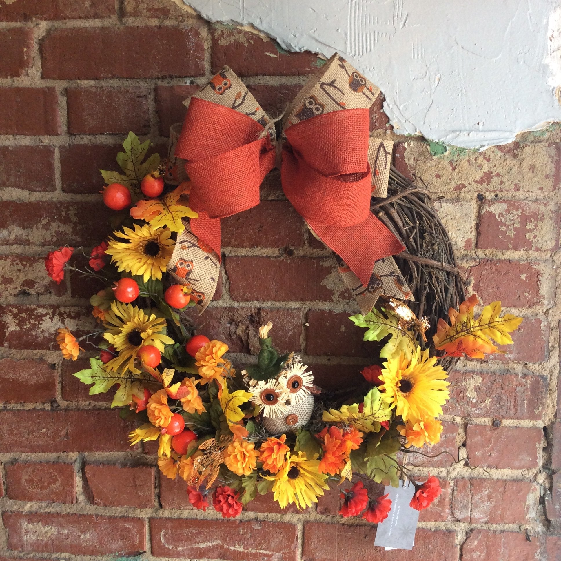 "18"" Fall Burlap Owl Wreath"
