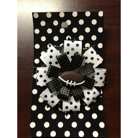 Large Bow - Black & White with Gold Dots & Football