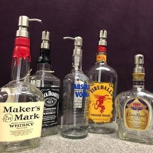 Hand Created Large Liquor Bottles with Pumps