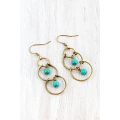 Dangling Turquoise Bead and Worn Gold Tone Linked Circle Earrings