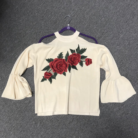 Flying Tomato Floral Embroidered Sweater