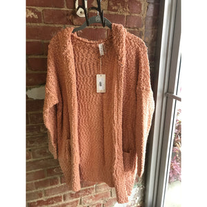 Llove Dusty Peach Chunky Popcorn Knit Hooded Cardigan