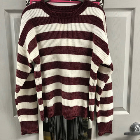 Lovetree Burgandy and cream stripe sweater