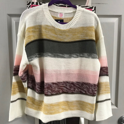 Wanna B Cream Sweater with Color Stripes