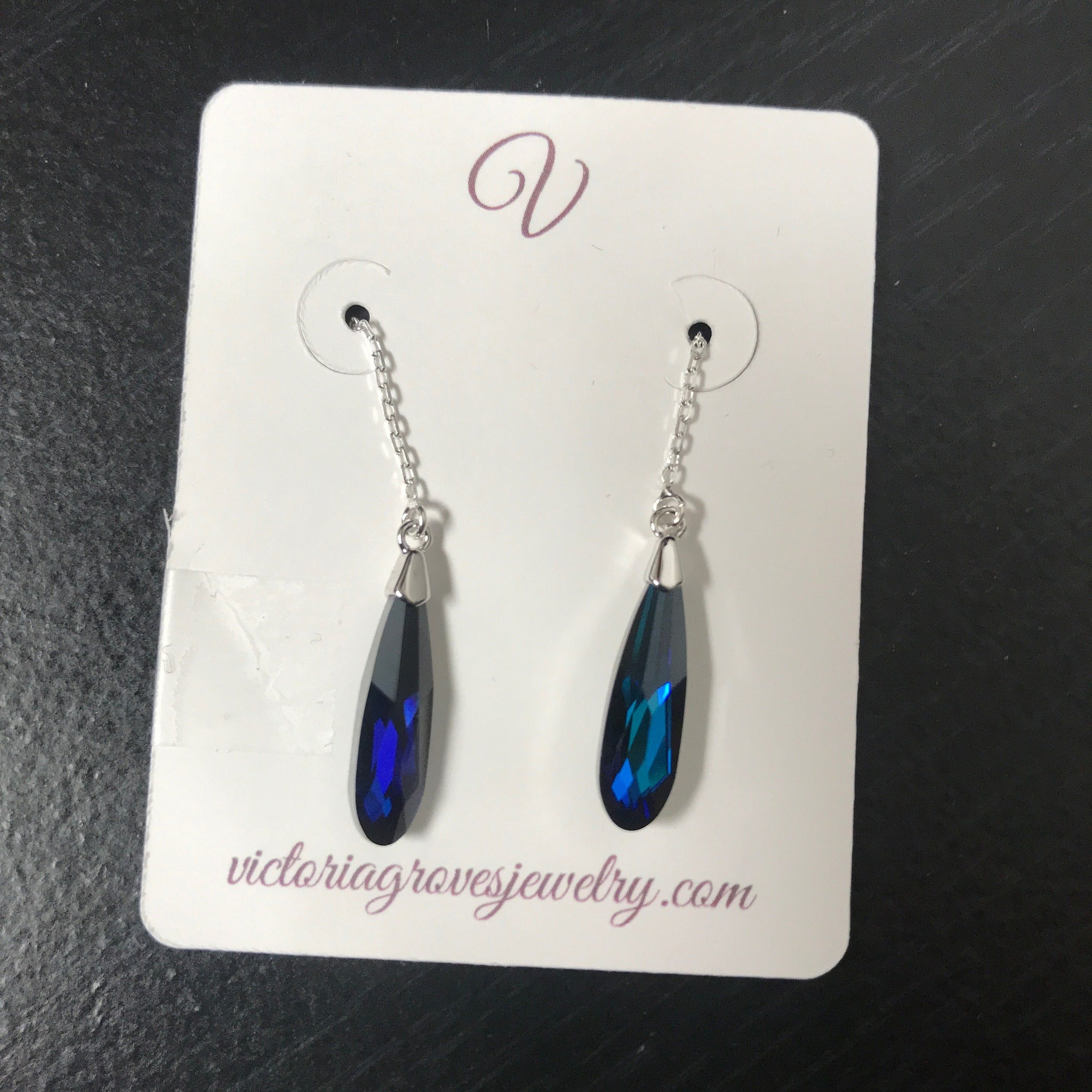 Bermuda Blue Swarovski Sterling Ear Threads