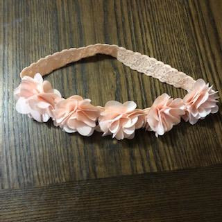 Peach Floral Lace Head Wrap