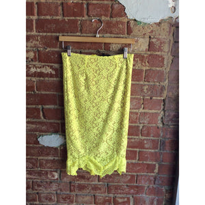 Yellow Lace Nude Lined Pencil Skirt