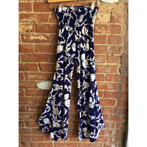 Navy Floral Wide Leg Pants
