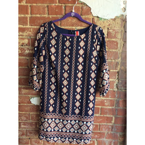 Navy Geo Print Shift Dress