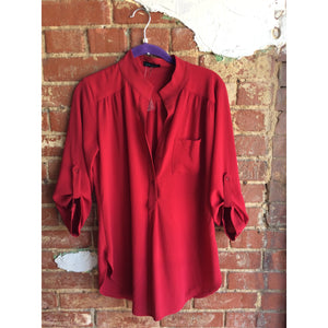 Red Cherry Button Up Blouse