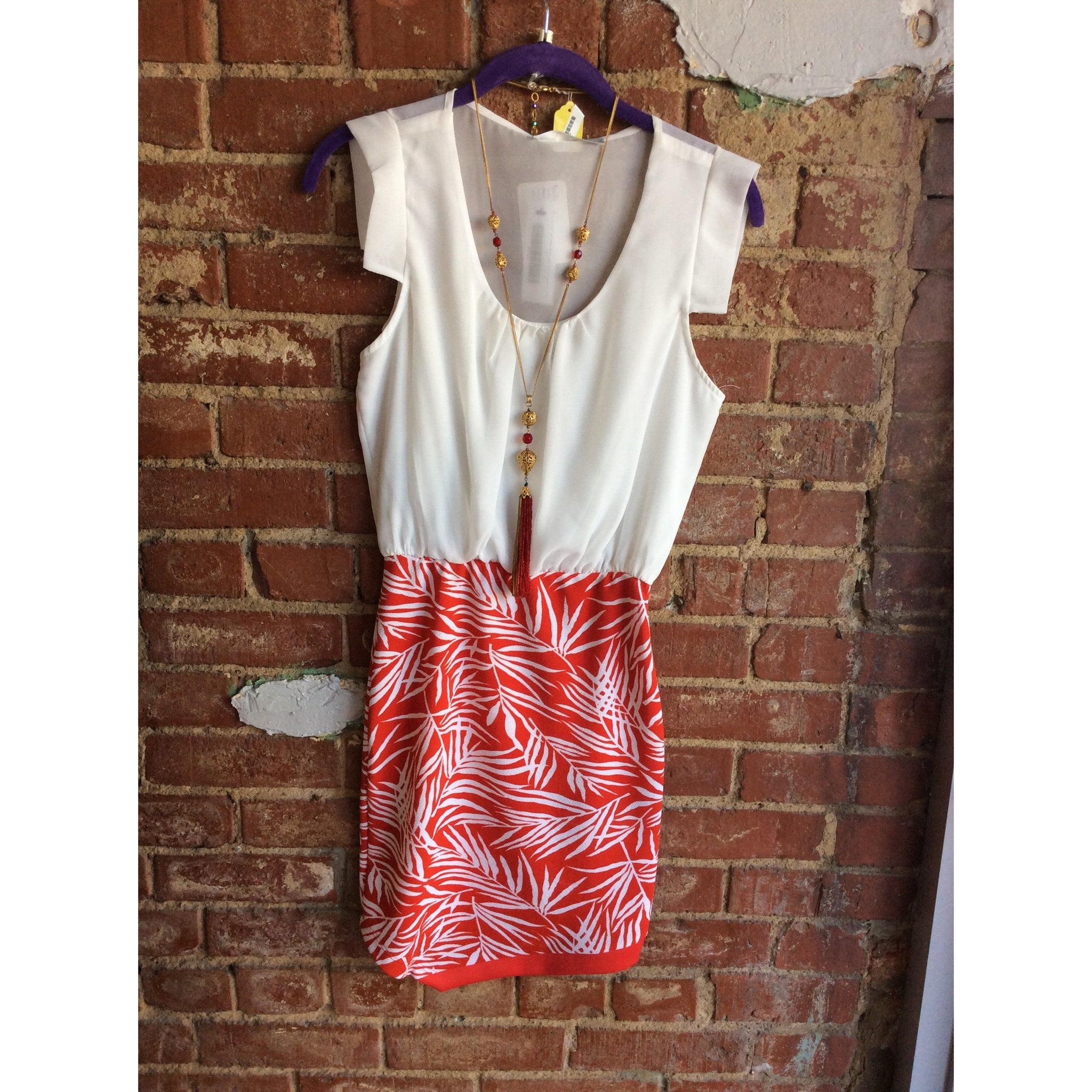 White Top Red Leaf Bottom Dress