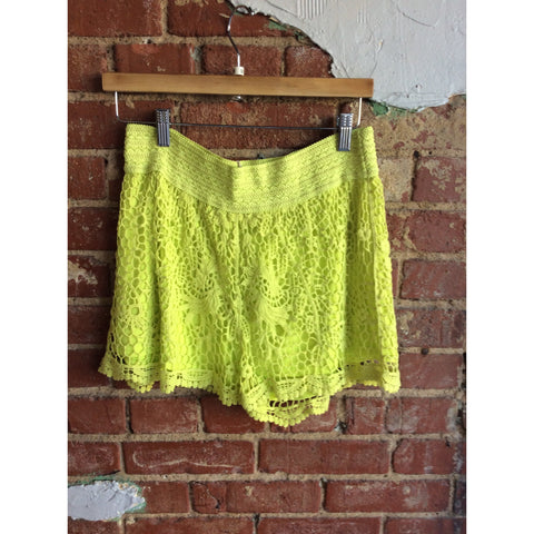 Yellow Crochet Wide Band Stretch Shorts