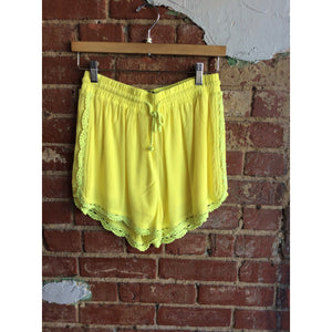 Yellow Fully Lined Drawstring Shorts