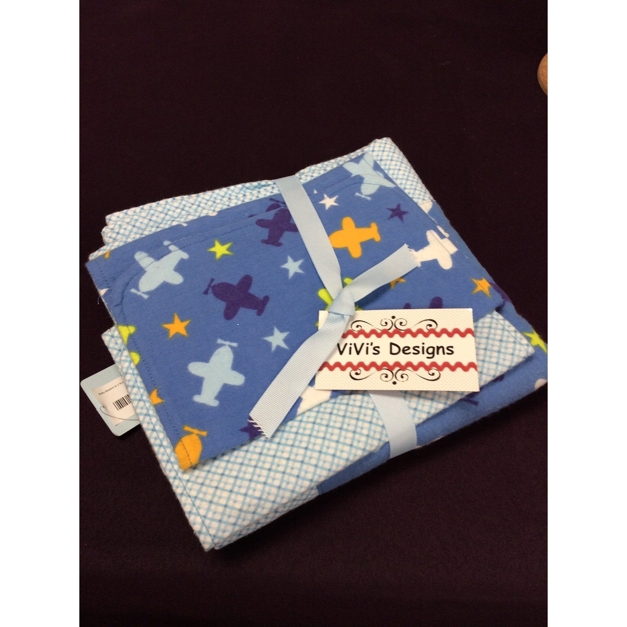 Baby Blanket & 2 Burp Cloths - Boys Airplanes / Blue Diamond Back