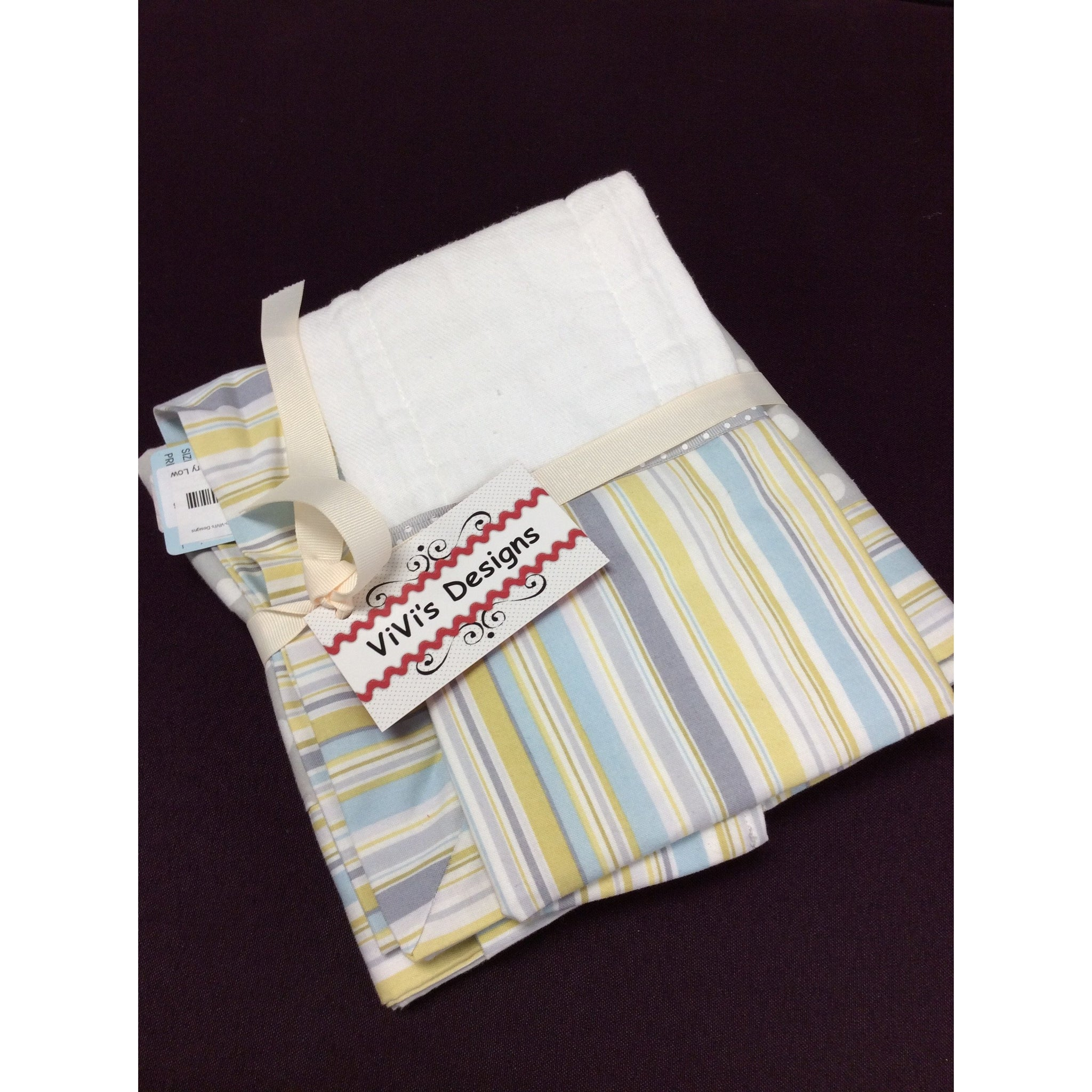 Baby Blanket & 2 Burp Cloths - Light Stripe Cotton