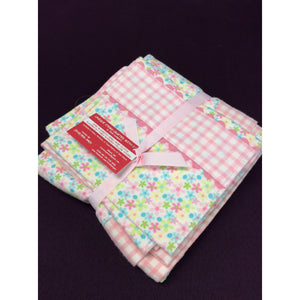 Baby Blanket & 2 Burp Cloths - Pink & White Check / Spring Floral