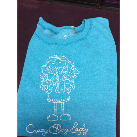 """Crazy Dog Lady""  Heather Blue Sweatshirt"