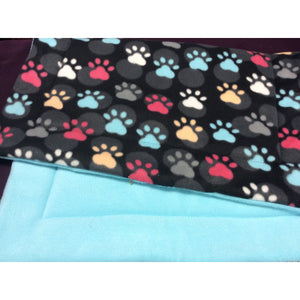 Large Black Color Paw Prints Crate Pad