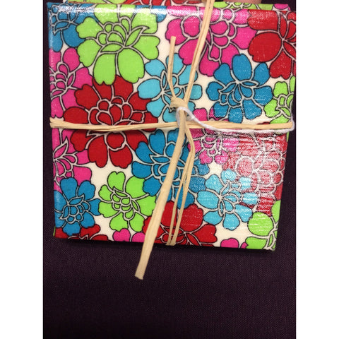 Red, Blue and Green Flower Coasters
