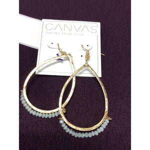 Aqua Glass Teardrop Earrings