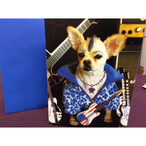 """Chihuahua Rock Star"" Greeting Card"