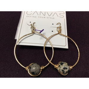 Dalmatian Jasper Gemstone Hoop Earrings
