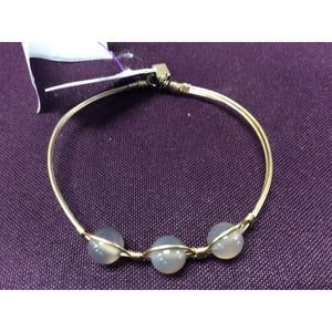 Gray Agate 3-Stone Gemstone Bangle