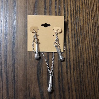 Silver Microphone Necklace & Earring Set