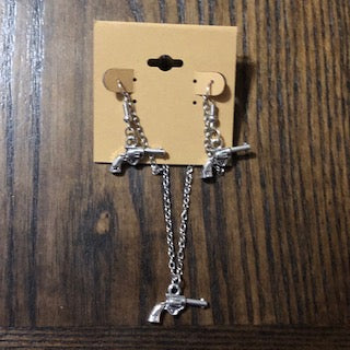 Silver Pistol Necklace & Earring Set