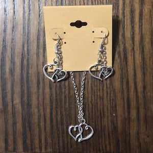 Silver Hearts Necklace & Earring Set