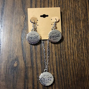 Silver Bottle Cap Necklace/Earring Set