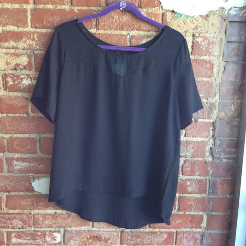 Black Sheer Front Plus Size Top
