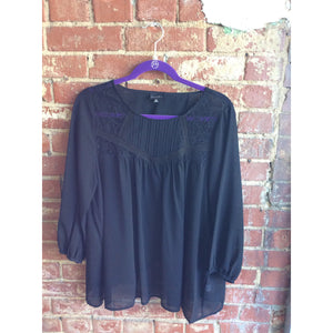 Black Plus Sized Top with Criss Cross Back