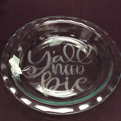 "Pyrex 9"" clear Pie Plates with Funny Sayings"