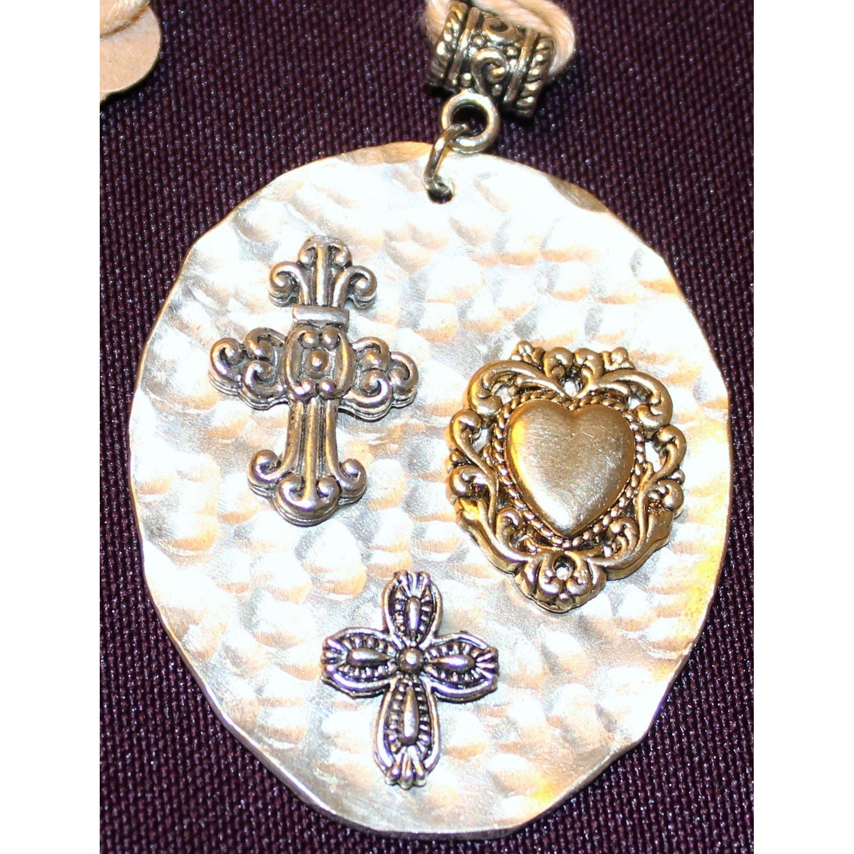 Hammered Spoon with Crosses and Heart Pendant