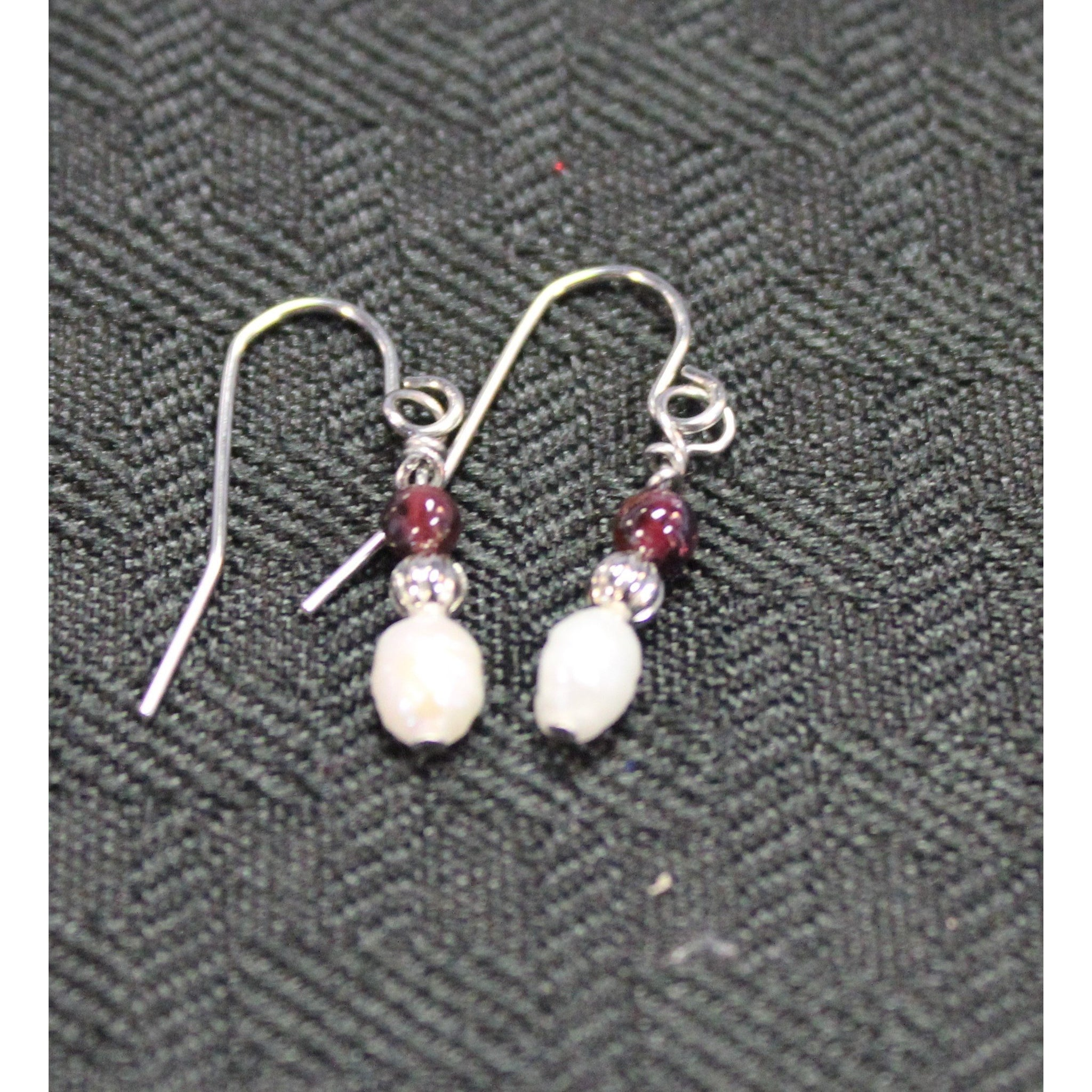Tiny White Pearl with Garnet Earrings