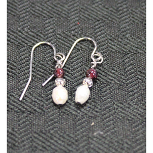 Cranberry Pearl and Silver Earrings