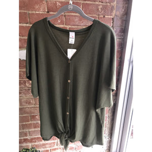 Brenda's Olive Waffle Knit Button Down Knot Front Top