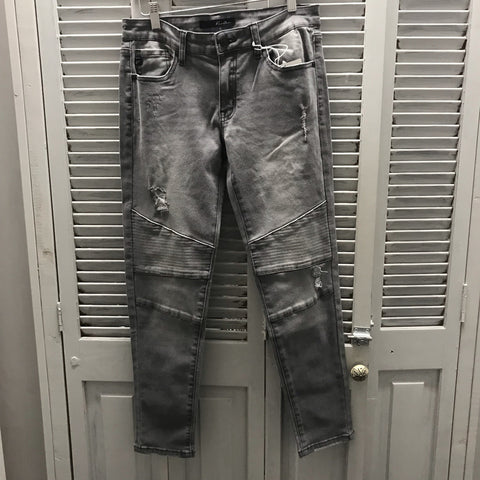 Gray Slight Distressed Low to Mid Rise Moto Jeans