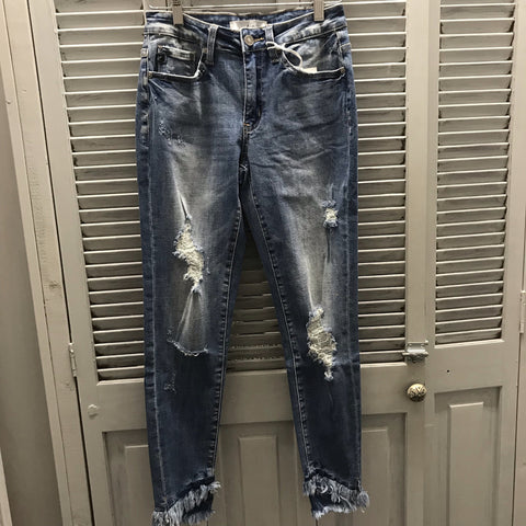 Frayed Ankle Distressed Mid Rise Jean