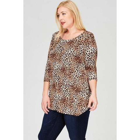 *TRUE PLUS* Animal print long sleeve tunic top featuring side-button detail and asymmetric hem