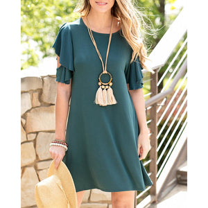 Modal Ruffle Sleeve Dress