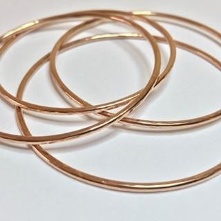 Rose Gold Hammered Bangle