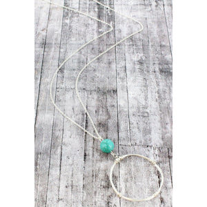 Silver Long Necklace with Turquoise and Silver Circle