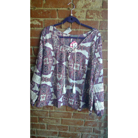 Multi Color Paisley Plus Size Top