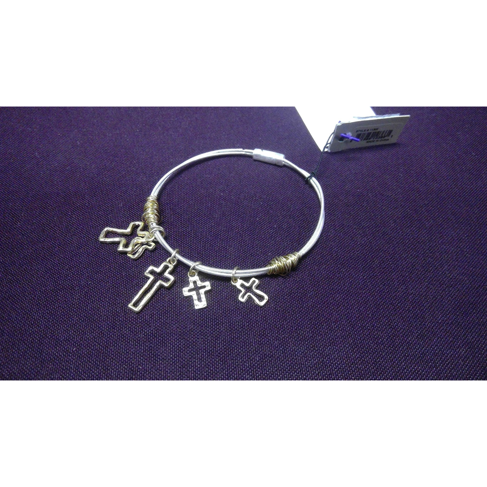 Wired Open Cross Charm Bangle