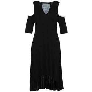 Black Keyhole Hi-Lo Cold Shoulder Dress